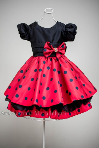 Vestido Da Minnie Luxo 1 A 6 Anos