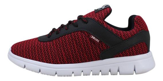 Tênis Passeio Vermelho/preto Dual Footwear Original Promoção