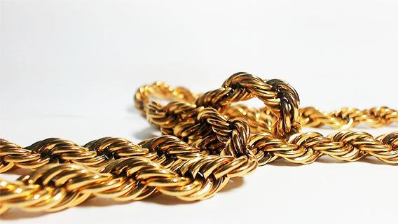 Cordão De 18k Banhado A Ouro Aço Cirurgico Grossa