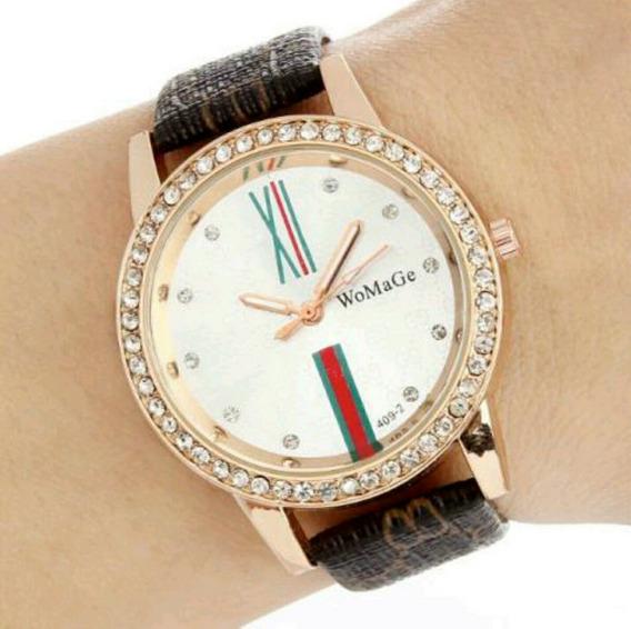 Relógio Feminino Womage Pulseira Em Couro - Modelo Luxo