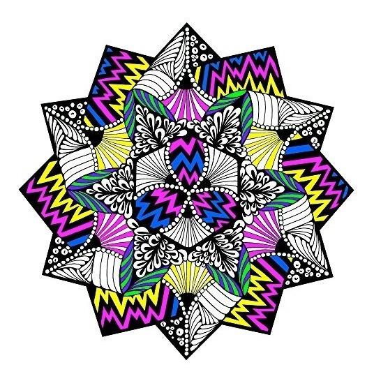 El Zigzag De Terciopelo Fuzzy Para Colorear Mandala - 20x20