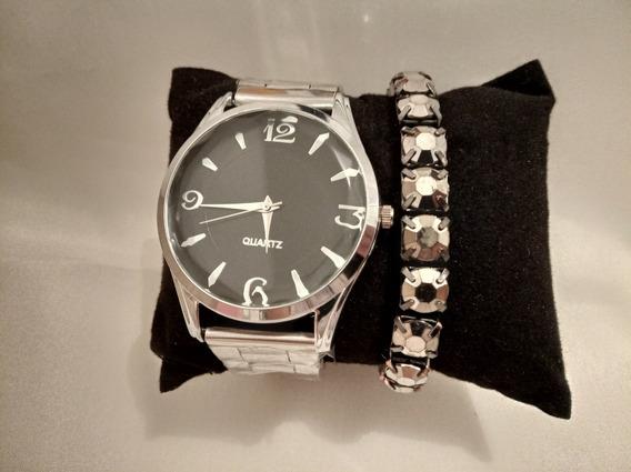 Relógio Feminino Prata + Pulseira