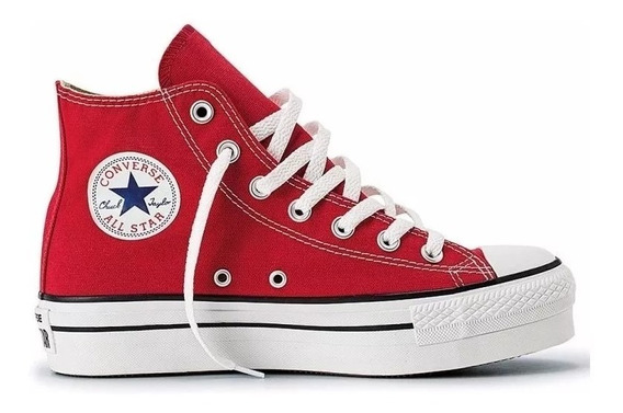 Zapatillas Mujer Converse All Star Plataforma Hi Rojo