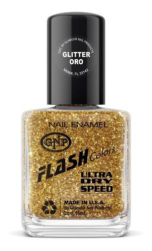 Imagen 1 de 4 de Esmalte Flash Colors De Gnp 15ml Glitter Oro