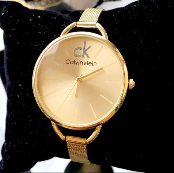 Relógio Ck Calvin Klein Luxo Quartz Em Aço Inoxidável Gold