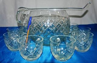 Antigo Conjunto Poncheira Concha E 10 Xícaras Cristal Raro