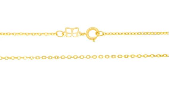 Cordão Rommanel Fol Ouro Fio Cadeado Batido 42 Cm 530307