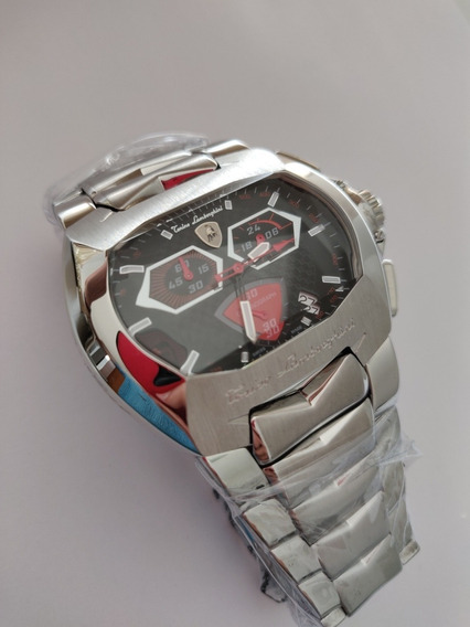 Relógio Lamborghini Prata, Cronógrafo Vermelho!