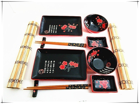 Set Sushi Para 2 Personas 12 Piezas De Porcelana