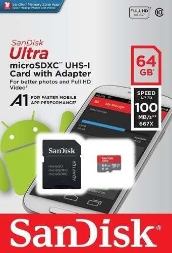 Cartão Micro Sd 64gb Ultra Classe10 Sandisk 80mb/s.