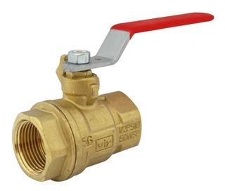 Llave De Paso Bola Valvula Bronce 1 Pulgada Agua Gas