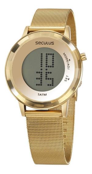 Relógio Seculus Feminino Digital Dourado 77046lpsvds1