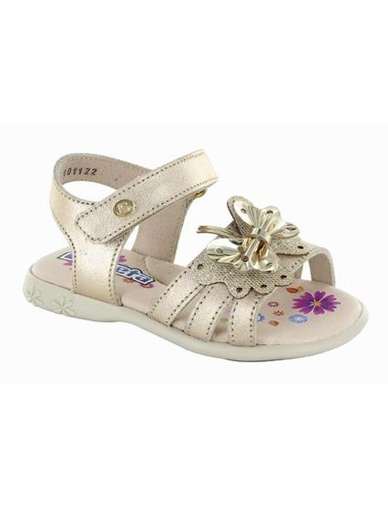 Sandalia Para Niña Con Velcro Coqueta Mod Fanny Oro T18-21