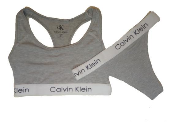 Conjunto Calvin Klein Mujer Corpiño Deportivo Colaless Moda
