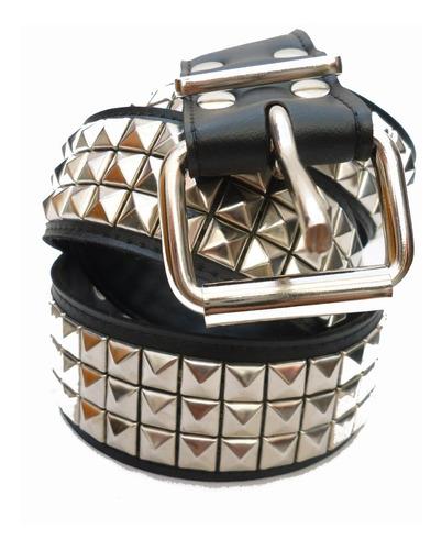 Cinturones De Cuero Con Tachas 3 Hileras 10/10 Que Sea Rock