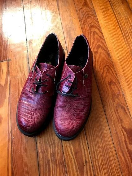 Zapatos Creepers Cordones Plataforma Bordó Como Nuevos