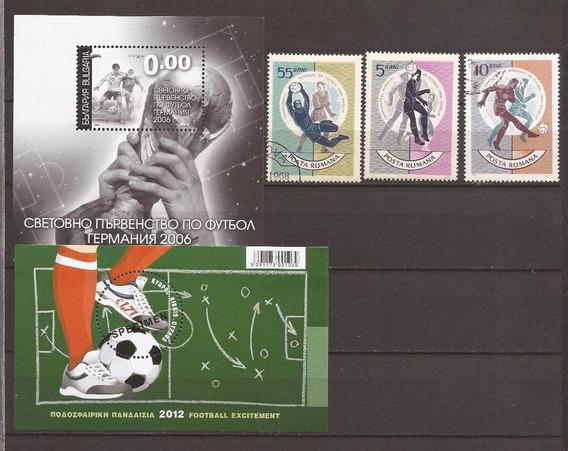Futbol Bulgaria Rumania 2 Bloques Specimen Y 3 Sellos - 189