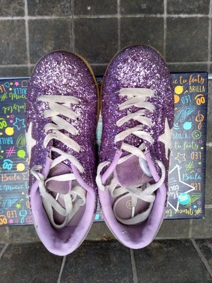 Zapatillas Footy Luz Led Y Usb Glitter Star