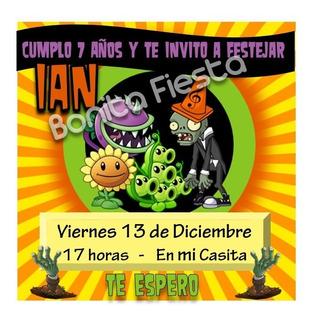 Tarjetas De Invitacion Plantas Vs Zombies En Mercado Libre