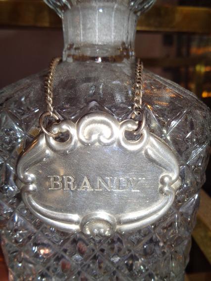 Antigua Placa Colgante Para Brandy De Metal Plateado