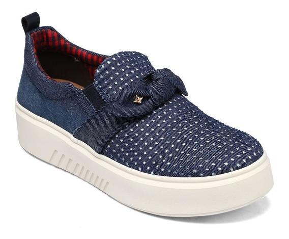 Tênis Feminino Slip On Cravo & Canela Nó Azul Jeans 161901