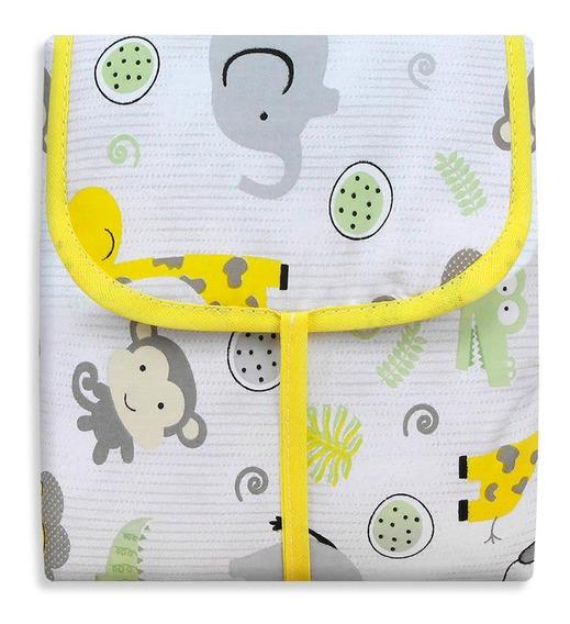 Trocador De Bebê Portátil Com Bolsos 100% Alg Safari Amarelo