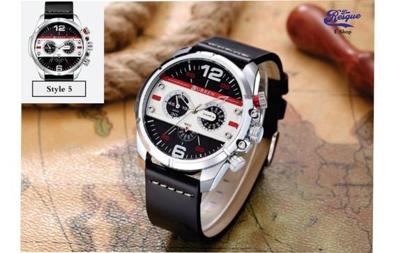 Relógio Curren 8259 Pulseira De Couro Ponteiro Decorativo