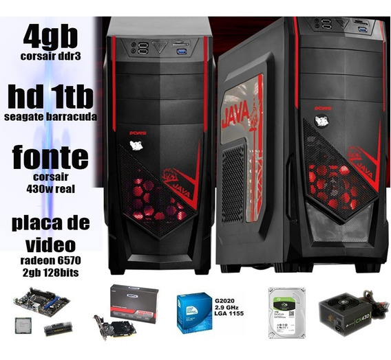 Computador Gamer 4gb Corsair Hd 1tb Fonte 430w Hd6570 2gb