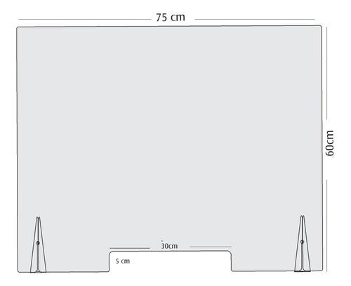 Imagen 1 de 8 de Barrera Sanitaria Mampara Móvil Acrílico 3mm 75 X 60cm