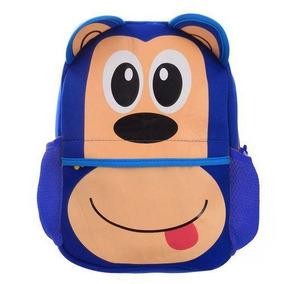 Mochila Escolar Infantil De Personagens Têxtil -macaco Azul