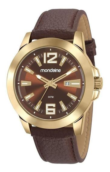 Relógio Mondaine Masc Dourado Pulseira De Couro Marrom