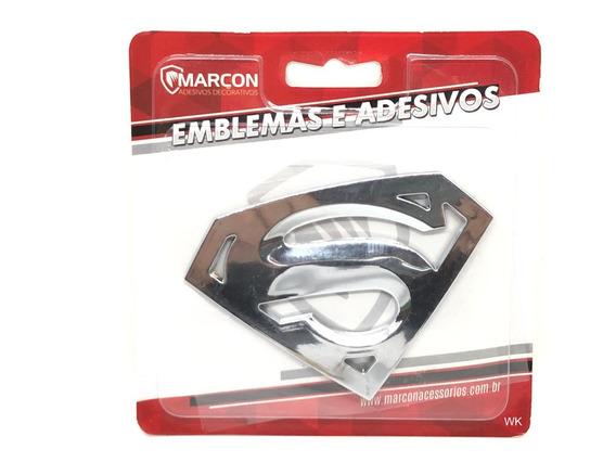 Emblema Cromado Super Man Adesivo Decorativo Automóveis