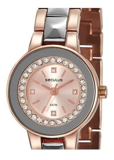 Relógio Pulso Feminino Seculus Rose Cristais 23605lpsvgb3