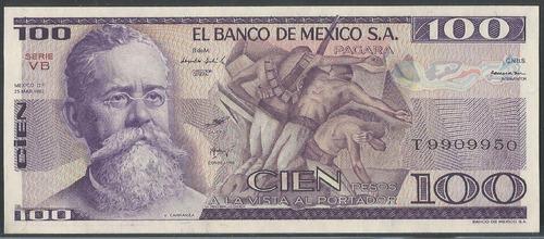 Imagen 1 de 2 de Mexico 100 Pesos 25 Marzo 1982 Serie Vb P74c