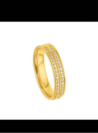Aliança De Ouro Amarelo 18k E Diamantes Vivara