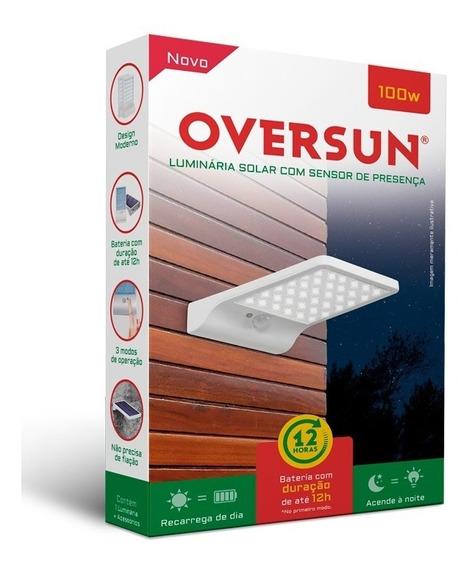 Luminária Refletor Solar 100w Potente Sensor Oversun Parede