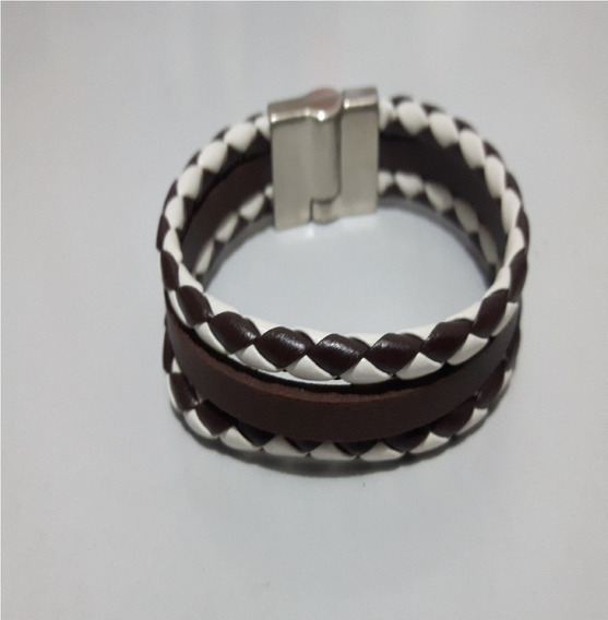 Couro Ecológico Pulseira Masculina Luxo Trançada Bracelete
