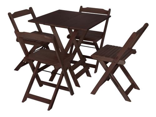 Conjunto 4 Cadeiras E 1 Mesa Dobrável - Cor Café