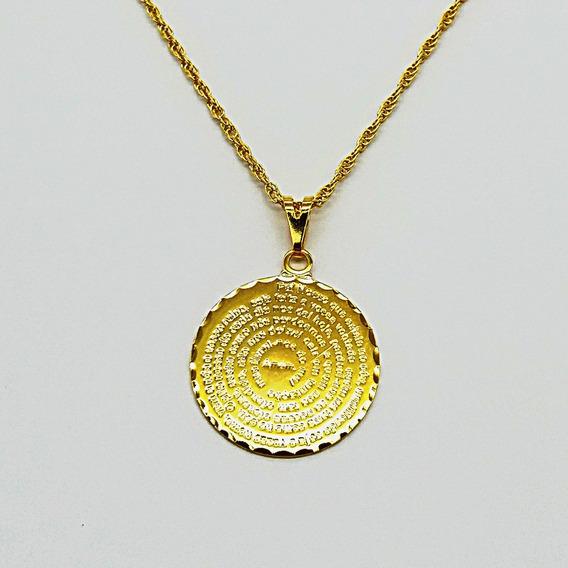 0102 Corrente Cordão Folheado Ouro 18k 45cm Pai Nosso 25mm