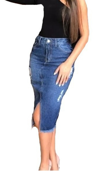Saia Midi Jeans Feminino Recorte Frontal Destroyed,algodão 01.01.9010/9011