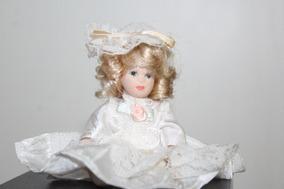 Muñeca De Porcelana Miniatura 7 Cm Antigua Coleccion