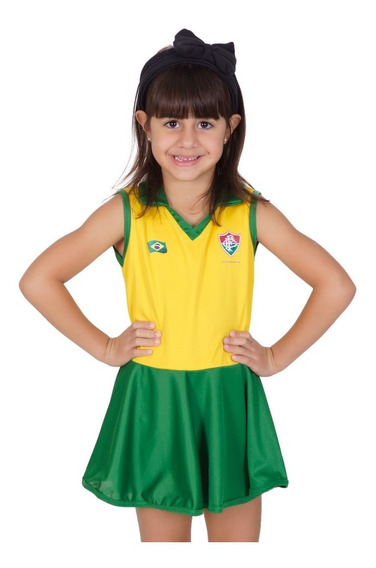 Novo Vestido Polo Fluminense Brasil Infantil - Torcida Baby