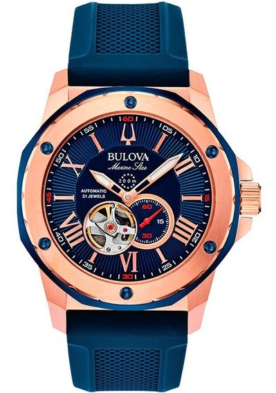 Relógio Bulova Marine Star Automático Esqueleto 98a227 + Nfe