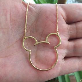 Colar Mickey Banhado Em Ouro 18k Semijoia