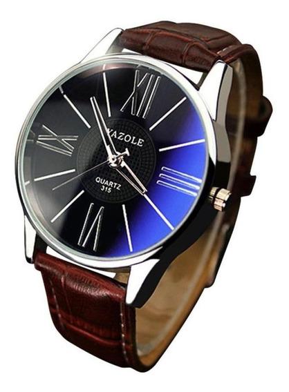 Relógio Masculino Luxo Pulseira De Couro C/ Caixa Promoção