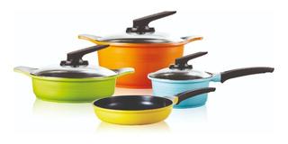 Batería Ollas De Cocina Roichen 7 Piezas Multicolor