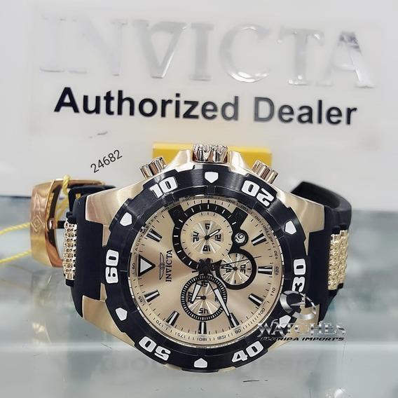 Relógio Invicta Pro Diver 24682 Dourado Borracha 6981 18k