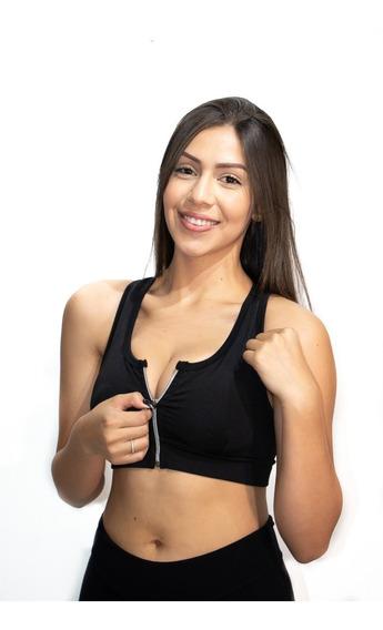 Kit 2 Tops Fitnes Com Zíper E Bojo Removível/ Para Academia