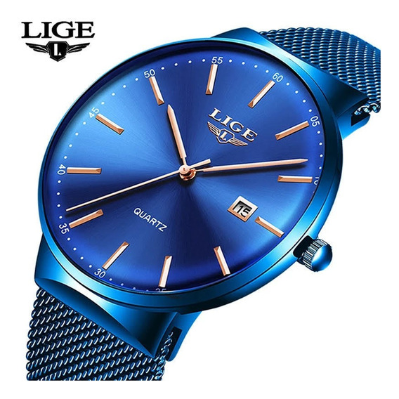 Relógio Masculino Lige 9903 Slim Casual Original Oferta Nf-e