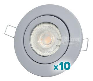 Pack X10! Spot Led Embutir Circular Plastico + Dicro Led 7w